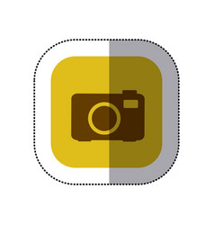 Sticker color square with analog camera icon vector