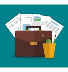 Suitcase office and business design vector