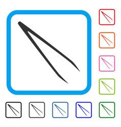 Tweezers framed icon vector
