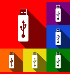 Usb flash drive sign set of icons vector