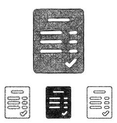 Verified icon set - sketch line art vector