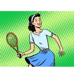 Young woman playing tennis retro style pop art vector