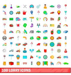 100 lorry icons set cartoon style vector