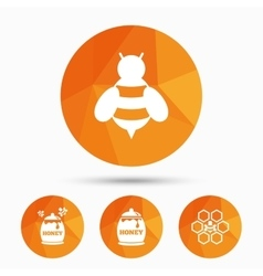 Honey icon honeycomb cells with bees symbol vector