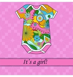 Its a girl card with ribbon and body vector