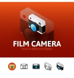 Film camera icon in different style vector