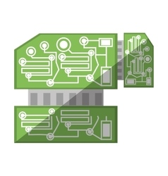 Computer hardware processor card shadow vector