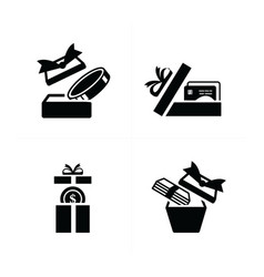 Set black gift icons open credit in gift box vector