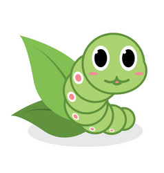 cute green worm cartoon vector image