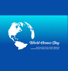 World ocean day style banner flat vector