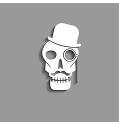 Skull with monocle paper silhouette vector