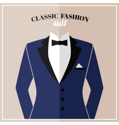 Classic tuxedo suit with bow vector