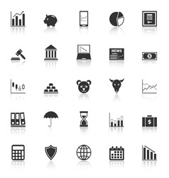 Stock market icons with reflect on white vector