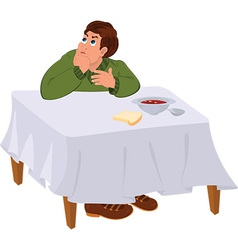 Cartoon man in green sweater sitting under the vector