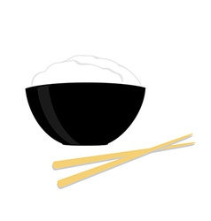 Rice bowl with two chopsticks vector