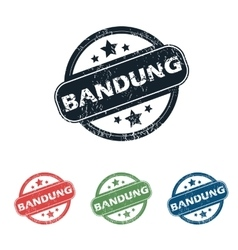 Round bandung city stamp set vector