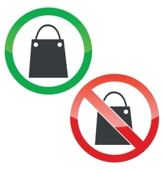 Shopping permission signs set vector