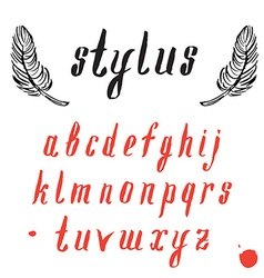 alphabet with feathers Hand drawn font vector image