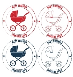 Baby friendly stamps retro vector