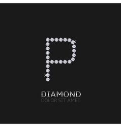 Letter p with gemstones vector