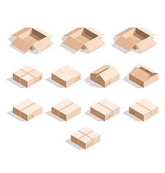 Set of 12 realistic isometric cardboard boxes with vector
