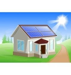 Solar energy caring about environment house with vector