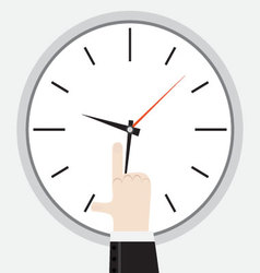 Finger showing on the clock vector