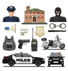 Flat police icon set vector