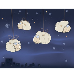 A Christmas card with a cheerful lambs cartoon vector image