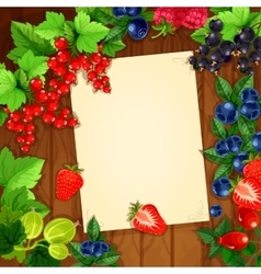 Berries recipe or message note blank form vector image vector image