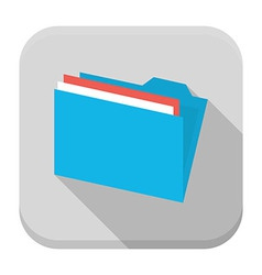 Blue folder with paper flat app icon with long vector