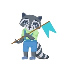 Boy raccoon with flag vector