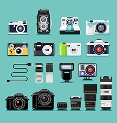 Camera flat icons vector image vector image