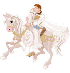 Cinderella and prince riding a horse after wedding vector