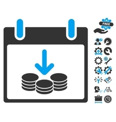 Coins income calendar day icon with bonus vector