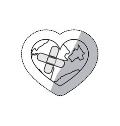 Contour earth planet heart with band aid icon vector