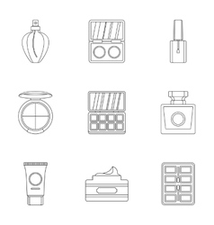 Cosmetics icons set outline style vector