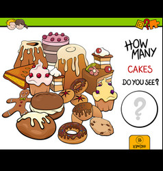 Counting cakes educational activity vector