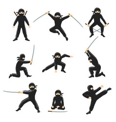 cute cartoon ninja kicking vector image