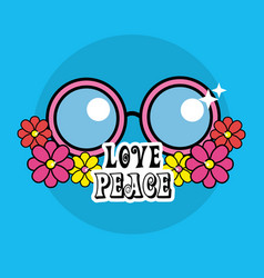 Cute hippie glasses with flowers and message vector