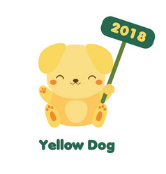 Cute yellow dog in cartoon style 2018 new year vector