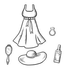 Dress sun hat ring mirror and perfume sketch vector