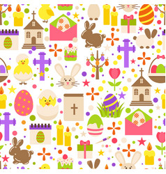 easter retro seamless pattern with cute flowers vector image vector image