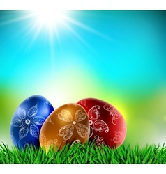 Eggs on natural background vector image