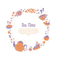 Elegant set of hand drawn tea and cakes vector