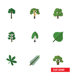 Flat icon ecology set of tree forest wood and vector