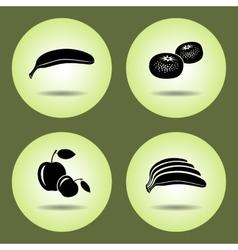 Food fruits set banana mandarin apple icons vector