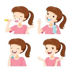 Girl Cleaning Teeth Set vector image