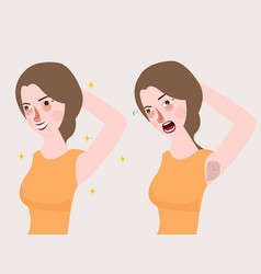 girl woman armpit smell body bad deodorant vector image