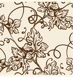 grape curled stem and big leaves in sepia endless vector image